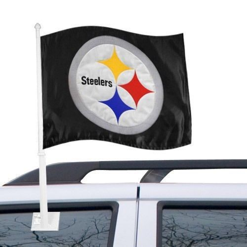 PITTSBURGH STEELERS CAR AUTO FLAG BANNER & POLE 2 SIDED NFL FOOTBALL