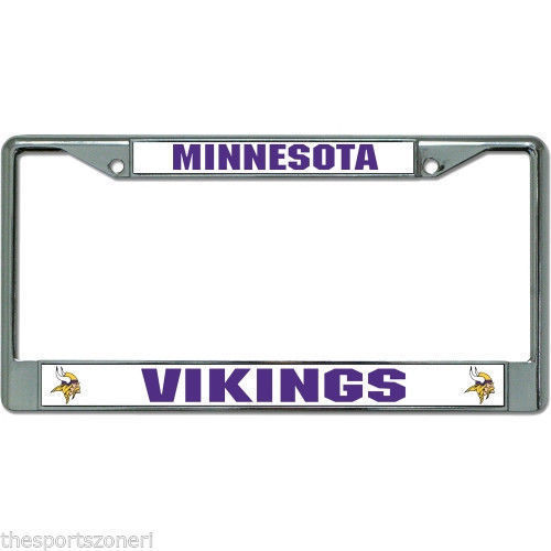 MINNESOTA VIKINGS CAR AUTO CHROME METAL LICENSE PLATE FRAME NFL FOOTBALL