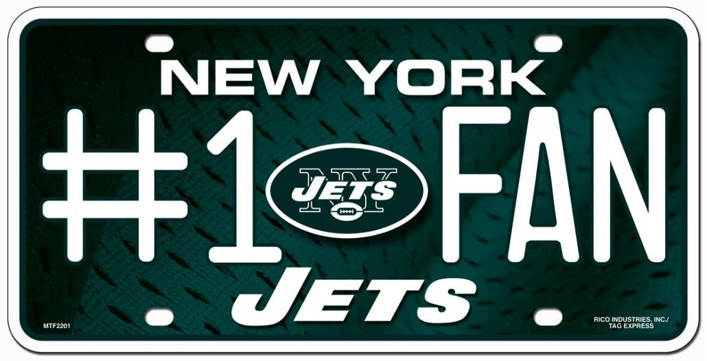 NEW YORK JETS #1 FAN CAR AUTO METAL LICENSE PLATE NFL FOOTBALL