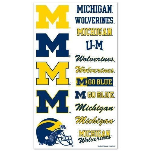 MICHIGAN WOLVERINES TEMPORARY TATTOOS FACE BODY GAME DAY TAILGATE PARTY