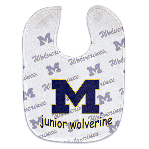 MICHIGAN WOLVERINES MESH BABY BIB VELCRO CLOSURE TEAM COLORS & LOGO NCAA
