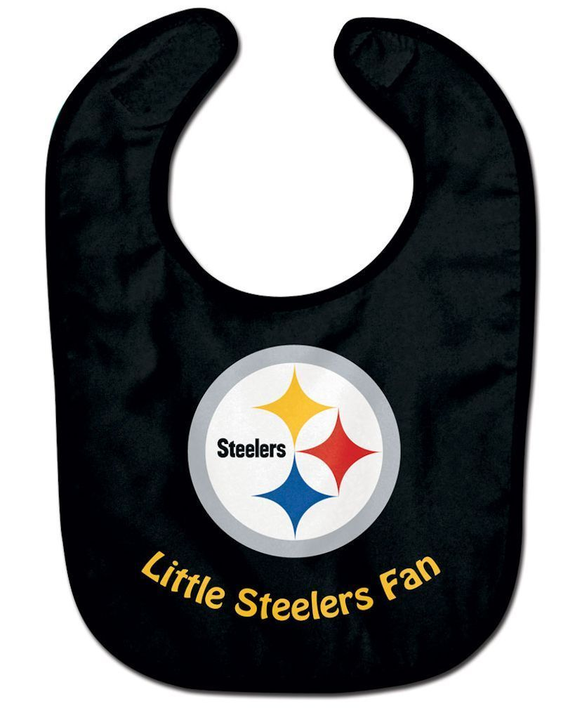 PITTSBURGH STEELERS ALL PRO BABY BIB VELCRO CLOSURE TEAM COLOR LOGO NFL FOOTBALL