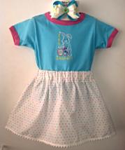 Easter Teal Blue T-Shirt, Polka Dot Skirt & Barrette - It's Easter - Siz... - $21.95