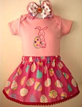 Easter Pink Bodysuit, Easter Egg Skirt & Headband - Size 12-18 months - $21.95