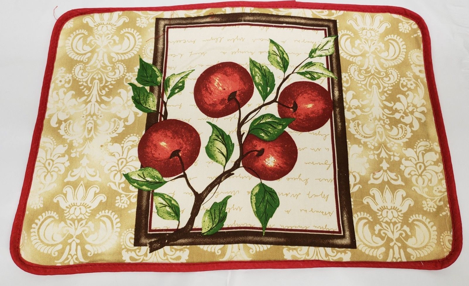 "Primary image for 1 FABRIC PLACEMAT 12""x18"", 100% Cotton, RED APPLES with red back, Safdie"