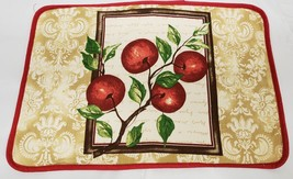 "1 Fabric Placemat 12""x18"", 100% Cotton, Red Apples With Red Back, Safdie - $6.92"