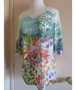 Woman's Blouse Top L 3/4 Sleeve V Neck Floral Garden Polyester - $18.31