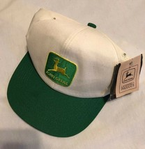 Vintage Snapback Hat John Deere Patch White Green K-Products Made In USA - $103.26