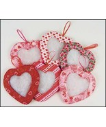 "Valentine Heart Tuck Ornaments 5""- set 6 asstd ... - $19.35"