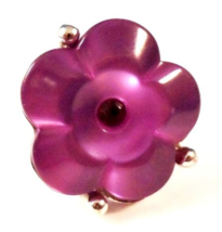 Flower Ring Purple Crystal Center Adjustable Size Silver Metal Costume No Brand - $9.99