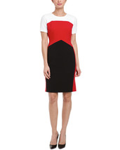Anne Klein Crimson Colorblock Sheath Dress Sz 4  NWT - $78.21