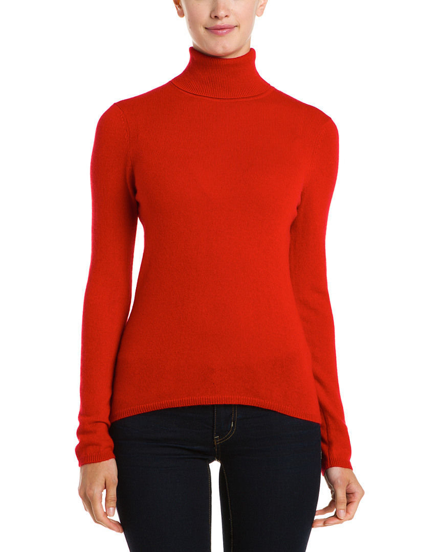 Primary image for In Cashmere Red Turtle Neck Cashmere Sweater Medium NWT $223