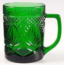 Vintage Cris D'Arques Durand Luminarc Emerald Green Pressed Glass Mug - $25.00