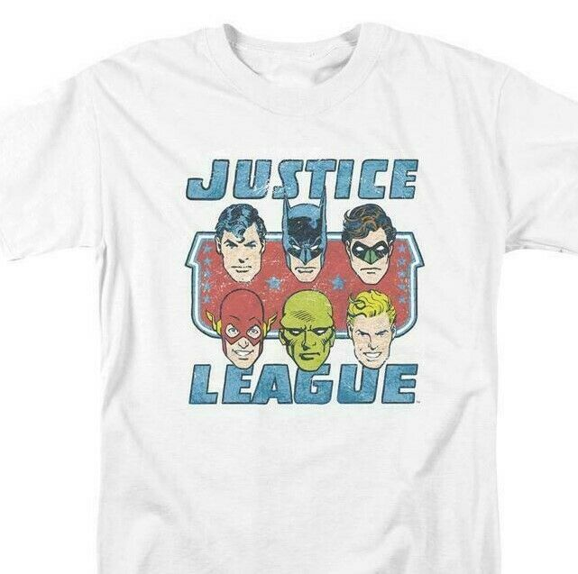 Justice League DC Heroes T-shirt comic book superfriends white cotton DCO745