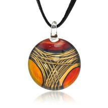 Hand Painted Venetian Murano Glass Multi-Colored Red Orange Yellow Necklace - $41.08