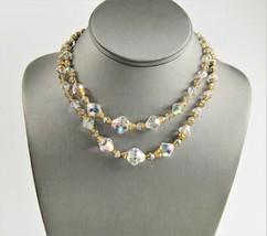 "ESTATE VINTAGE Jewelry 16"" GOLD CAP BICONE CRYSTAL ADJ MULTI STRAND NECK... - $15.00"