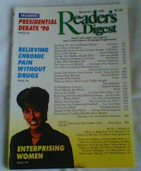 "Primary image for Readers Digest Magazine November 1996 - ""Relieving chronic pain without drugs"""