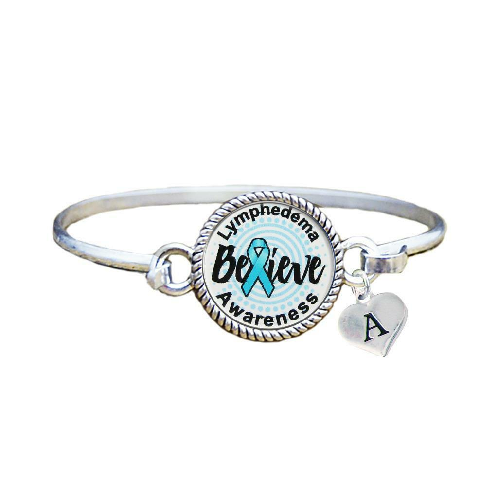 Primary image for Custom Lymphadema Awareness Believe Silver Bracelet Jewelry Choose Initial