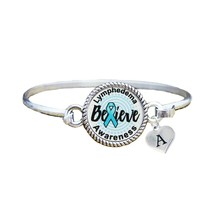 Custom Lymphadema Awareness Believe Silver Bracelet Jewelry Choose Initial - $13.80+