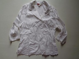 JM Collection Blouse White Linen Top 3/4 Sleeves V Neck Tunic Front Pock... - $9.87