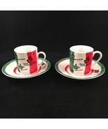 Portofino Italian Espresso Cups Italy Flag Colors Set of 2 - $19.24