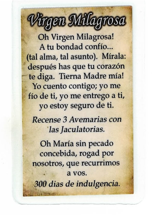 Corded Necklace with Medal & 'Virgen Milagrosa' Holy Card in Spanish - LH55.0182