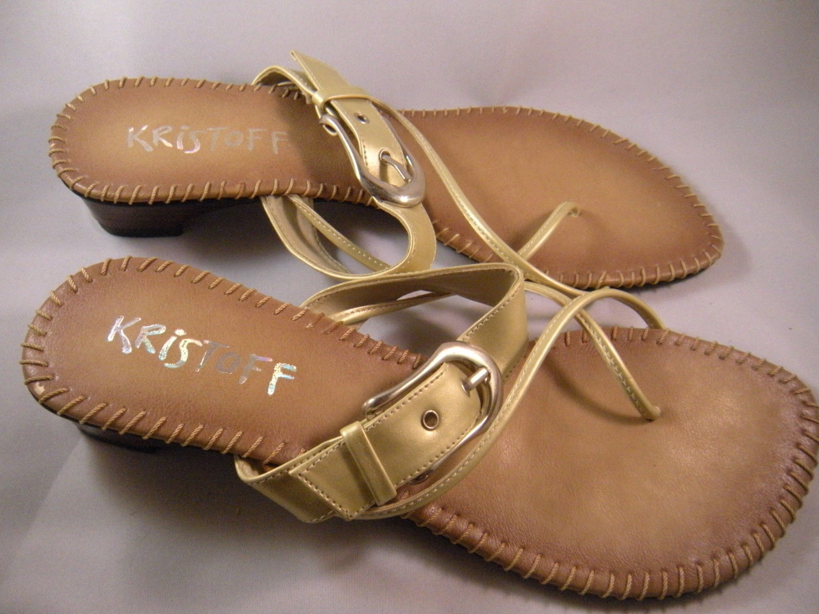 Primary image for KRISTOFF Womens Sandals Gold Trim  Womens Size 8-8.5  NEW