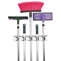 Mop Broom Rack Cleaning Supply Silver Storage 5... - $34.83