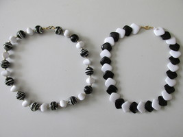 Black & White Retro / Vintage Plastic Beaded Necklaces - A Great Look! - $9.99