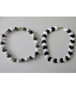 Black & White Retro / Vintage Plastic Beaded Necklaces - A Great Look! - $12.99