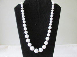 Trifari Retro / Vintage White Lucite Beaded Necklace - $12.99