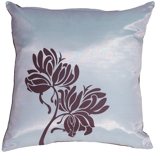 Pillow Decor - Chocolate Flowers on Blue Accent Pillow