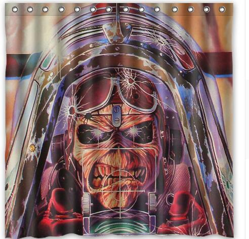 Primary image for Iron Maiden Undead Airplane Sky Clouds Fabric Shower Curtain Waterproof