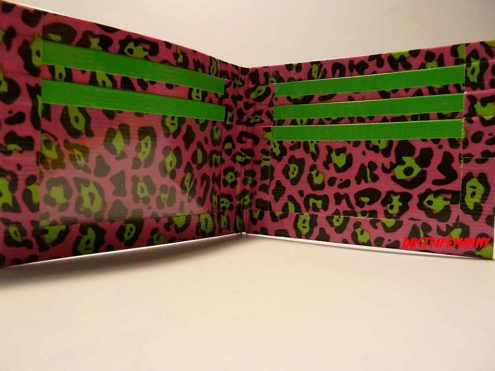 Primary image for HANDMADE DUCT TAPE WALLET PINK WITH GREEN LEOPARD SPOTS ALL OVER IT