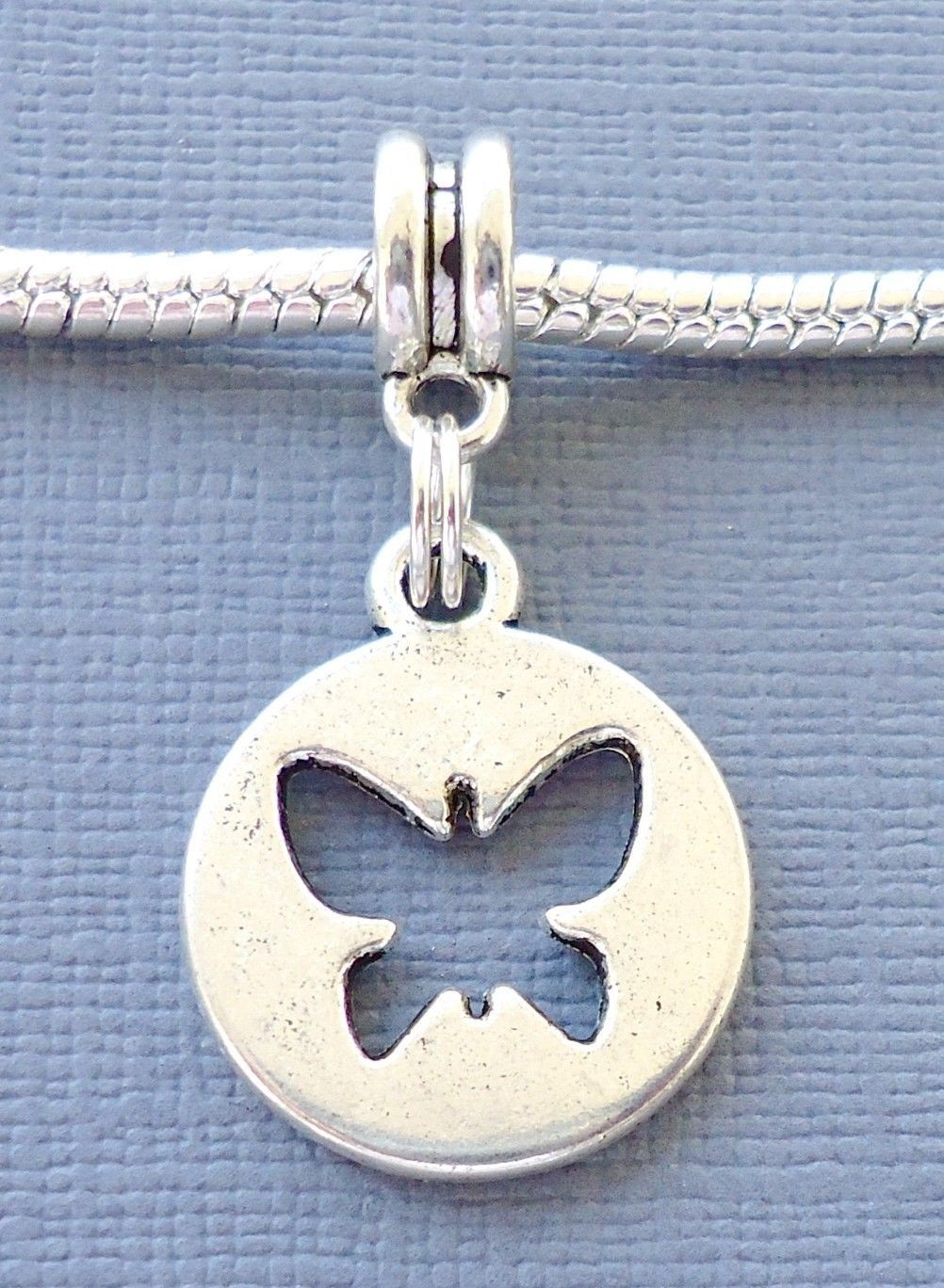 Primary image for Charm Pendant Tag BUTTERFLY Fit  For European Charm Bracelet and Necklace C169