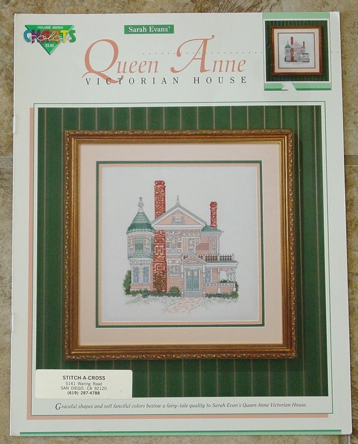 Vintage Pattern: Counted Cross Stitch QUEEN ANNE VICTORIAN HOUSE Home - $7.00
