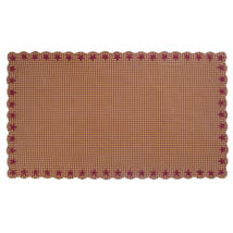 BURGUNDY Star Scalloped Table Cloth - 60x102 - Burgundy/Dark Tan - VHC Brands