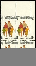"1455 Color Shift ERROR ""Plate Block"" - 8¢ Family Planning - Stuart Katz image 1"