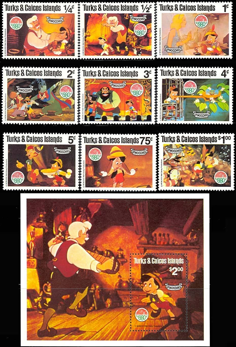 Primary image for TURKS & CAICOS PINOCCHIO SET OF 9 PLUS SOUVENIR SHEET