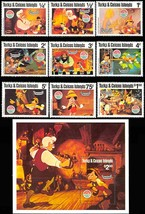 TURKS & CAICOS PINOCCHIO SET OF 9 PLUS SOUVENIR SHEET - $12.75