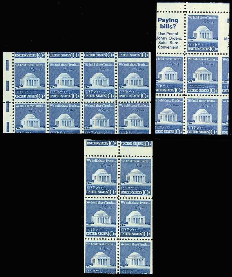 Primary image for 1510, MISCUT BOOKLET PANE ERRORS - THREE DIFFERENT - Mint NH - Stuart Katz