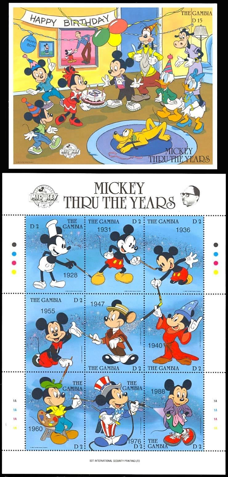 GAMBIA DISNEY MICKEY THRU THE YEARS  SHEETLET & S/S