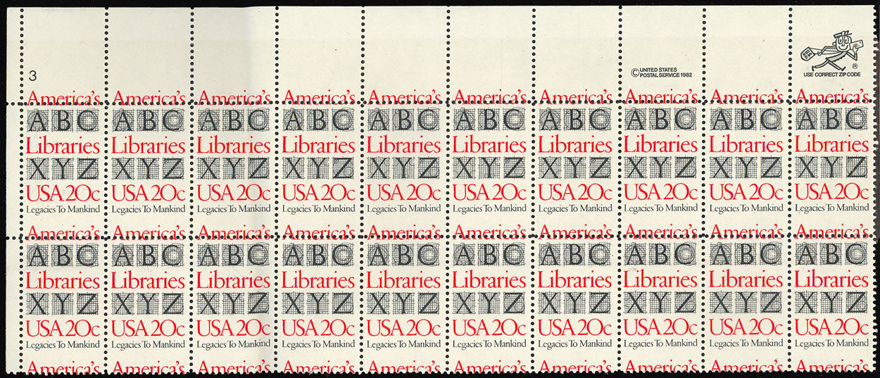 Primary image for 2015 Misperforation ERROR PL# Strip of 20 Stamps - 20¢ Libraries - Stuart Katz
