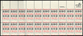 2015 Misperforation ERROR PL# Strip of 20 Stamps - 20¢ Libraries - Stuar... - $150.00