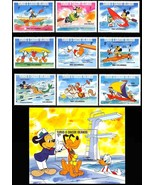 TURKS & CAICOS DISNEY LA OLYMPICS SET OF 9 PLUS S/S - $12.00