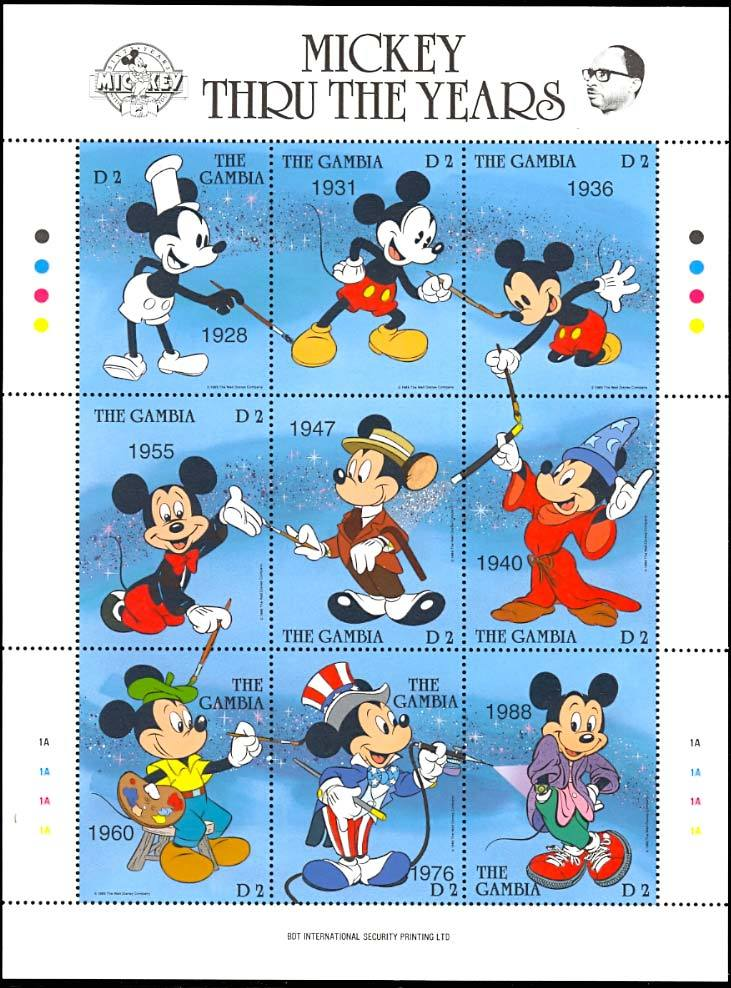 GAMBIA DISNEY MICKEY THRU THE YEARS  SHEETLET - SPECIAL PRICE!!!