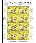 MALDIVES DISNEY DONALD DUCK SHEETLET OF EIGHT STAMPS - $12.95