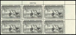 RW25, DUCK PLATE BLOCK OF SIX - XF-SUPERB OG NH Cat $600.00+ - $375.00