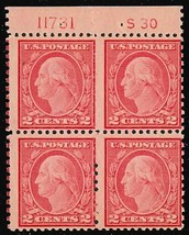 540, Mint NH 2c Washington PLATE BLOCK OF FOUR - Cat $175.00 - Stuart Katz - $49.95