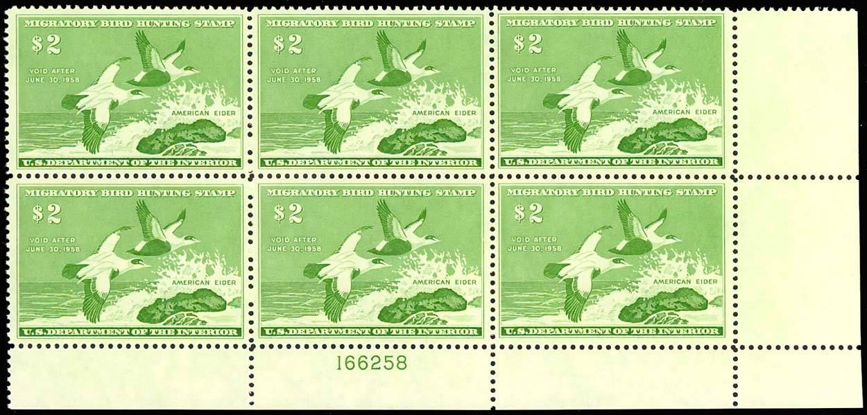 RW24, DUCK PLATE BLOCK OF SIX - XF-SUPERB OG NH Cat $600.00+